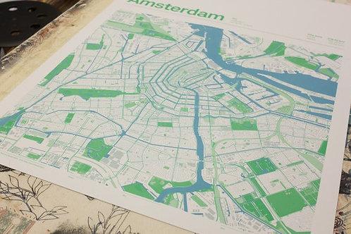 Blauwe zeefdruk Amsterdamse binnenstad/ Blue screen print map