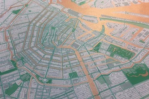 Koperen zeefdruk Amsterdamse binnenstad/ Copper screen print
