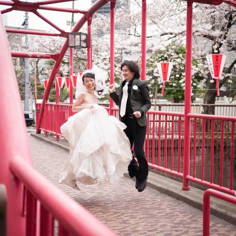 結婚式写真東京目黒川ロケーション