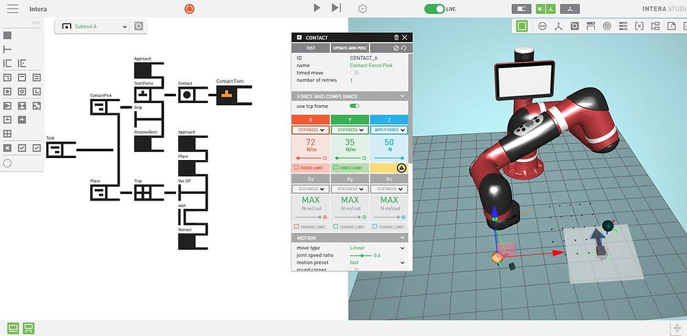 Screenshot of the robot-training software, Intera 5.