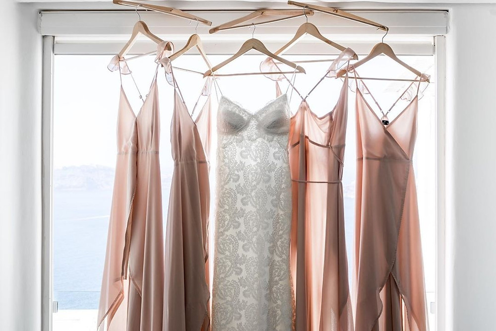 hanging Wedding Dress on the getting ready