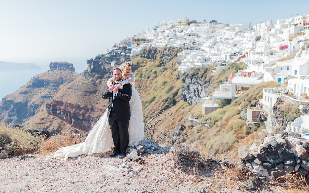 Wedding Couple on Santorini