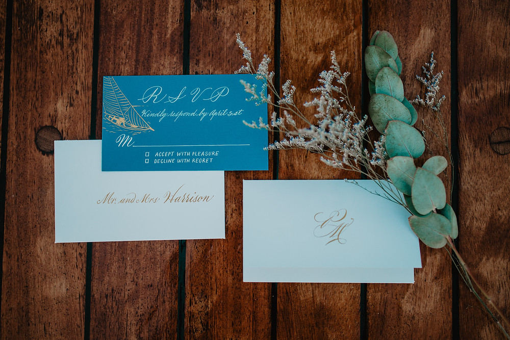 Save the Date cards for a destination wedding on Santorini