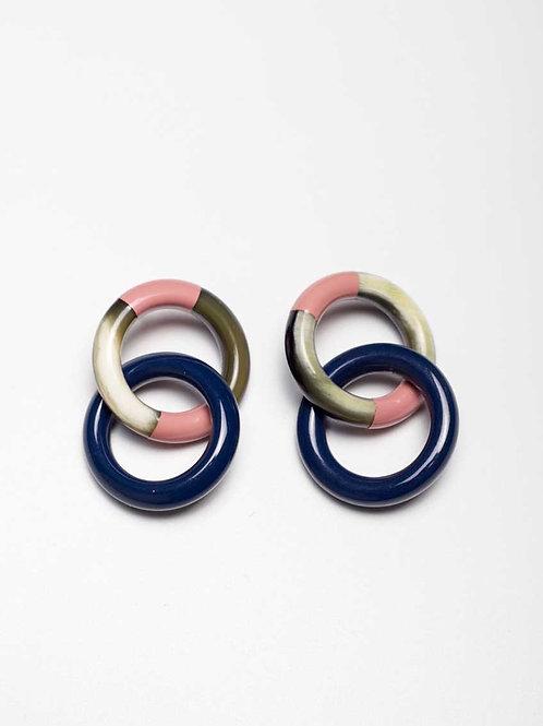 Sunshine Tienda - blue and pink horn lock earrings