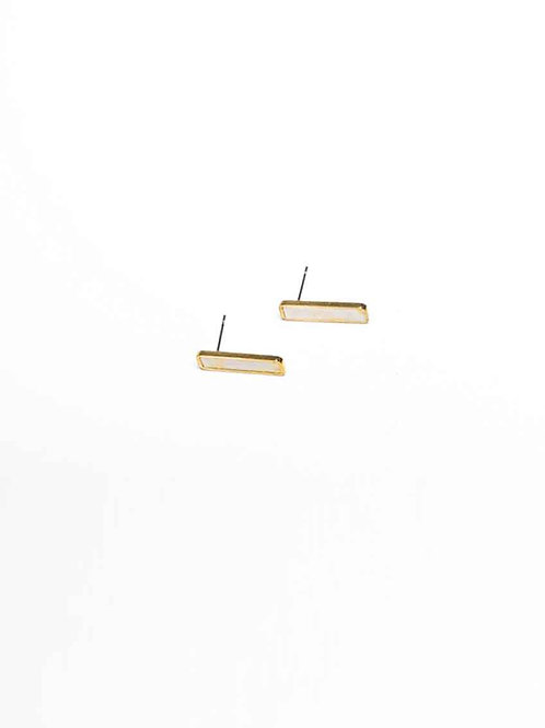 Cold Gold Earrings - white speckle bar stud