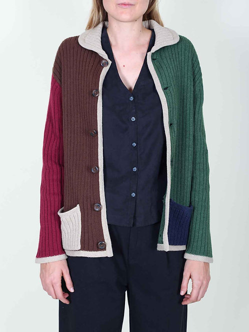 Brixton Powell Cardigan - brown and green