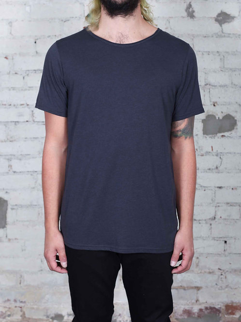 Unisex Triblend Raw Neck Tee - charcoal