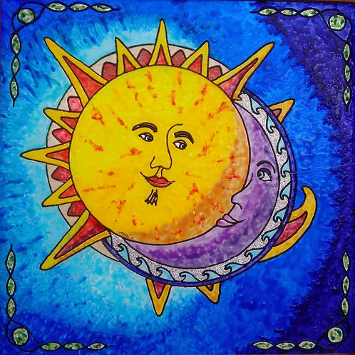 "Sun Loves Moon   16""x16"""