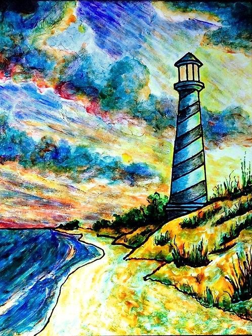 """Beach Lighthouse   11""""x17"""""""