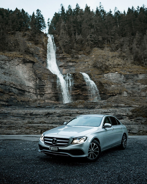 Waterfall and Mercedes