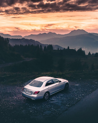 Sunset and Mercedes E200