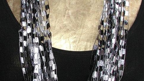"Zebra #2 Necklace (shown in 34"")"