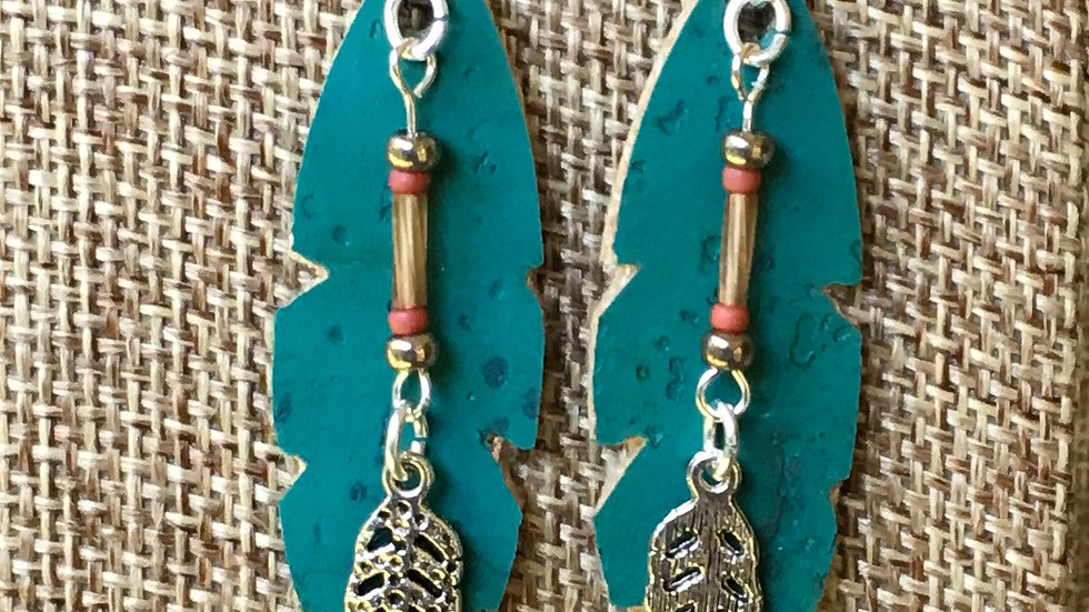 Feather Earrings with feather dangle