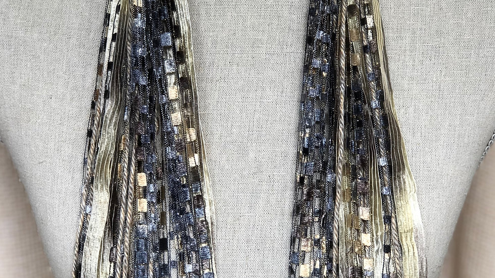 Greige Long Mixed Ribbon Scarf