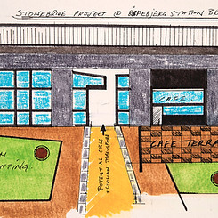 Sketch for `Under The Bridge´ clubhouse and administration HQ.
