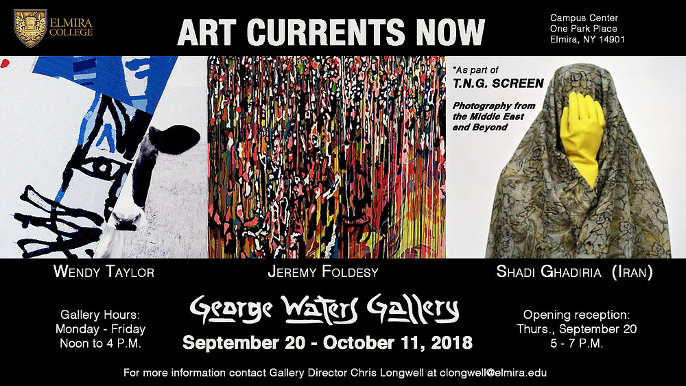 T.N.G. SCREEN will be participating in the seasons inaugural exhibition  `Art Currents Now´ at the George Waters Gallery, Elmira College, New  York State.