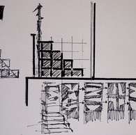 Sketch for the Aldersrogade `On The Roof´ Football Tribune.