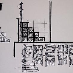 Sketch for `On The Roof´ (Bold På Taget) tribune.