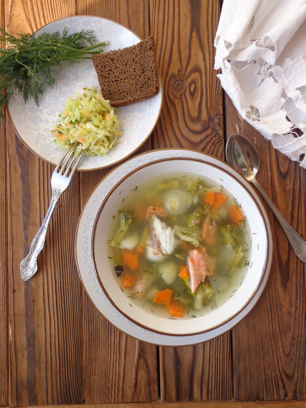 fish soup with broccoli