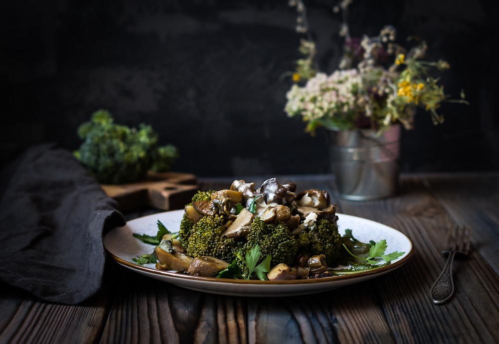 брокколи, белые грибы, рецепт из грибов