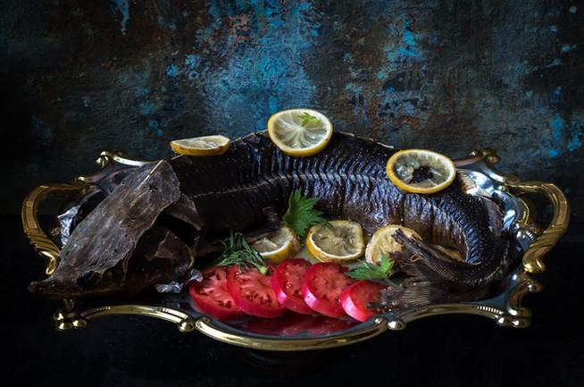 Запеченая рыба (осетр)