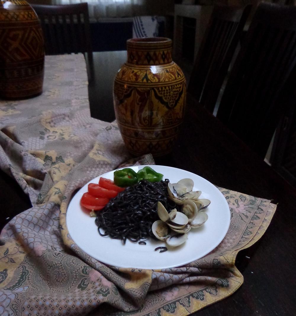 black spaghetti with shellfish