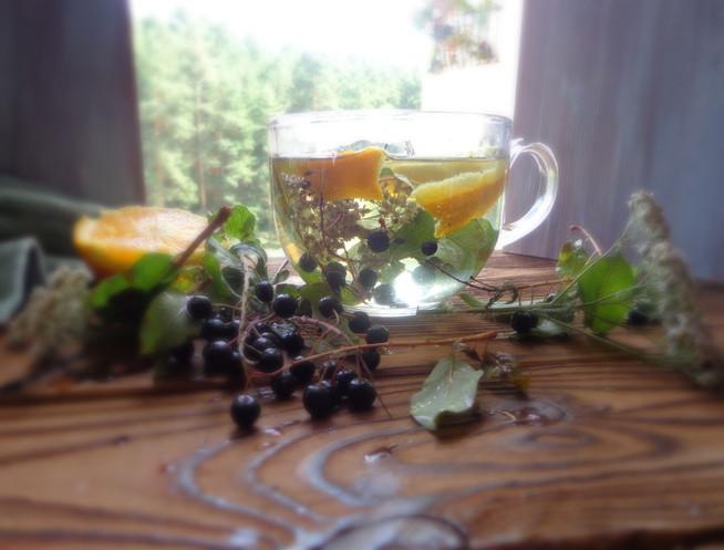Черемуховый детокс-чай с  тысячелистником и апельсином