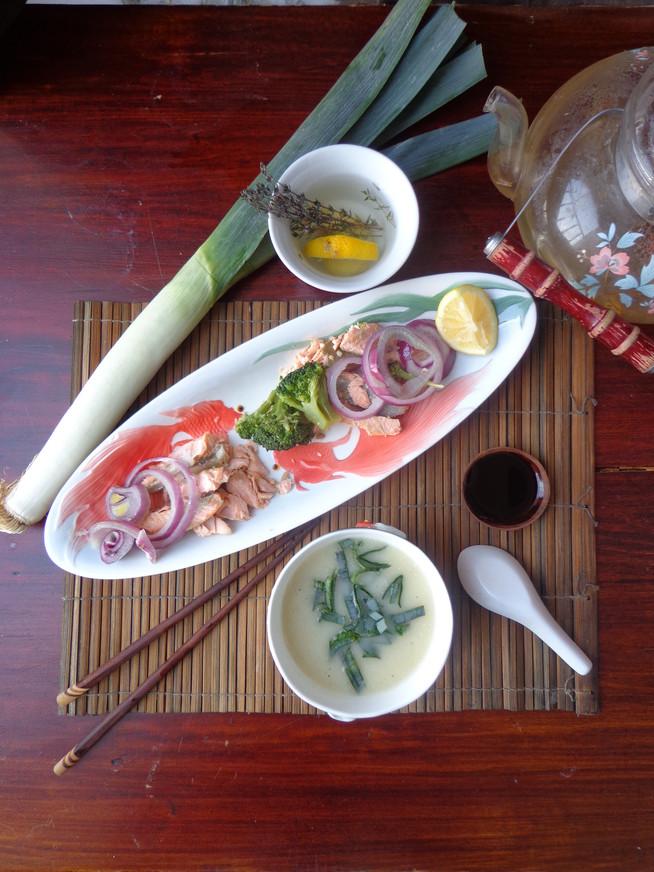 Суп-пюре из лука-порея с рыбным филе