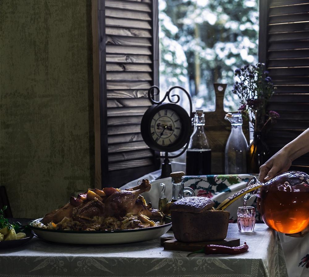 рождественская утка с капустой