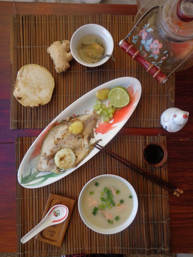 Суп-пюре из цикория и запеченая камбала под лимонно-имбирным соусом