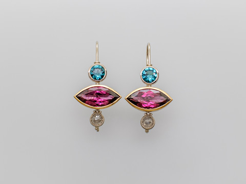 Granate, Turmaline und Diamanten (rosecut)