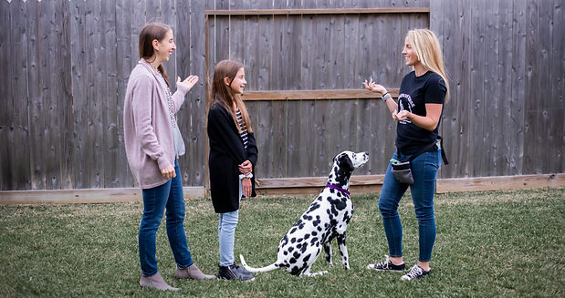 Woman, young girl, and their dog are receiving lessons from the trainer