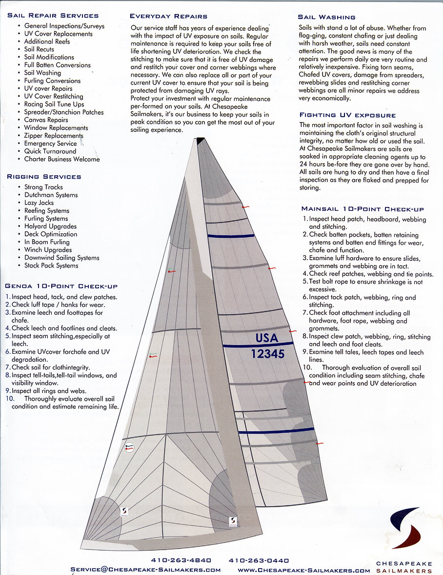 Chesapeake Sailmakers 10 Point Check List for sail repair and service