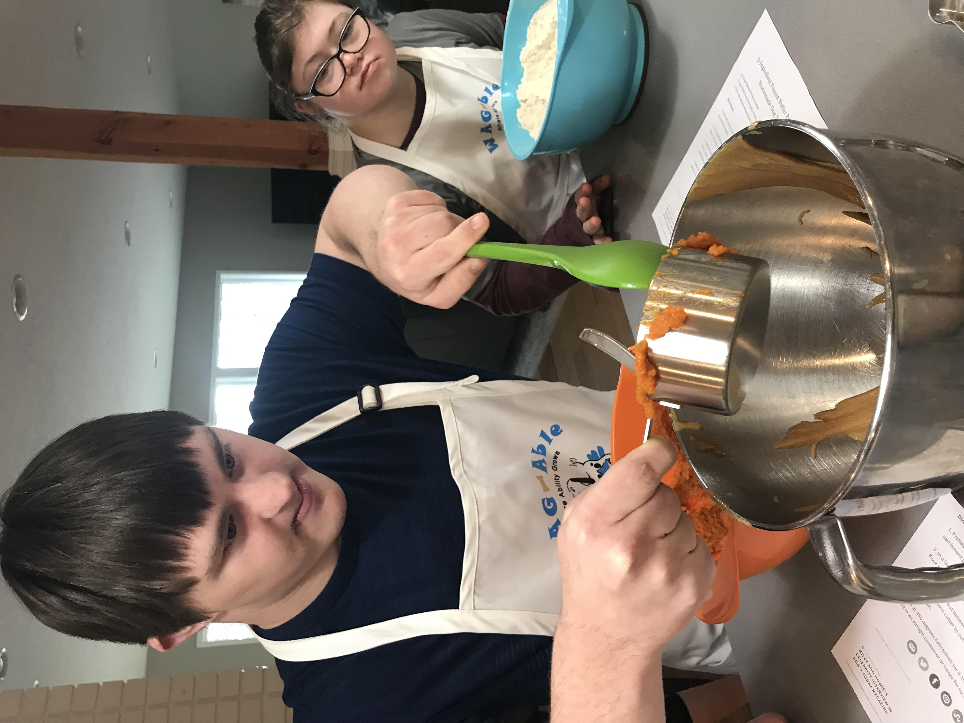 Daniel adding pumpkin