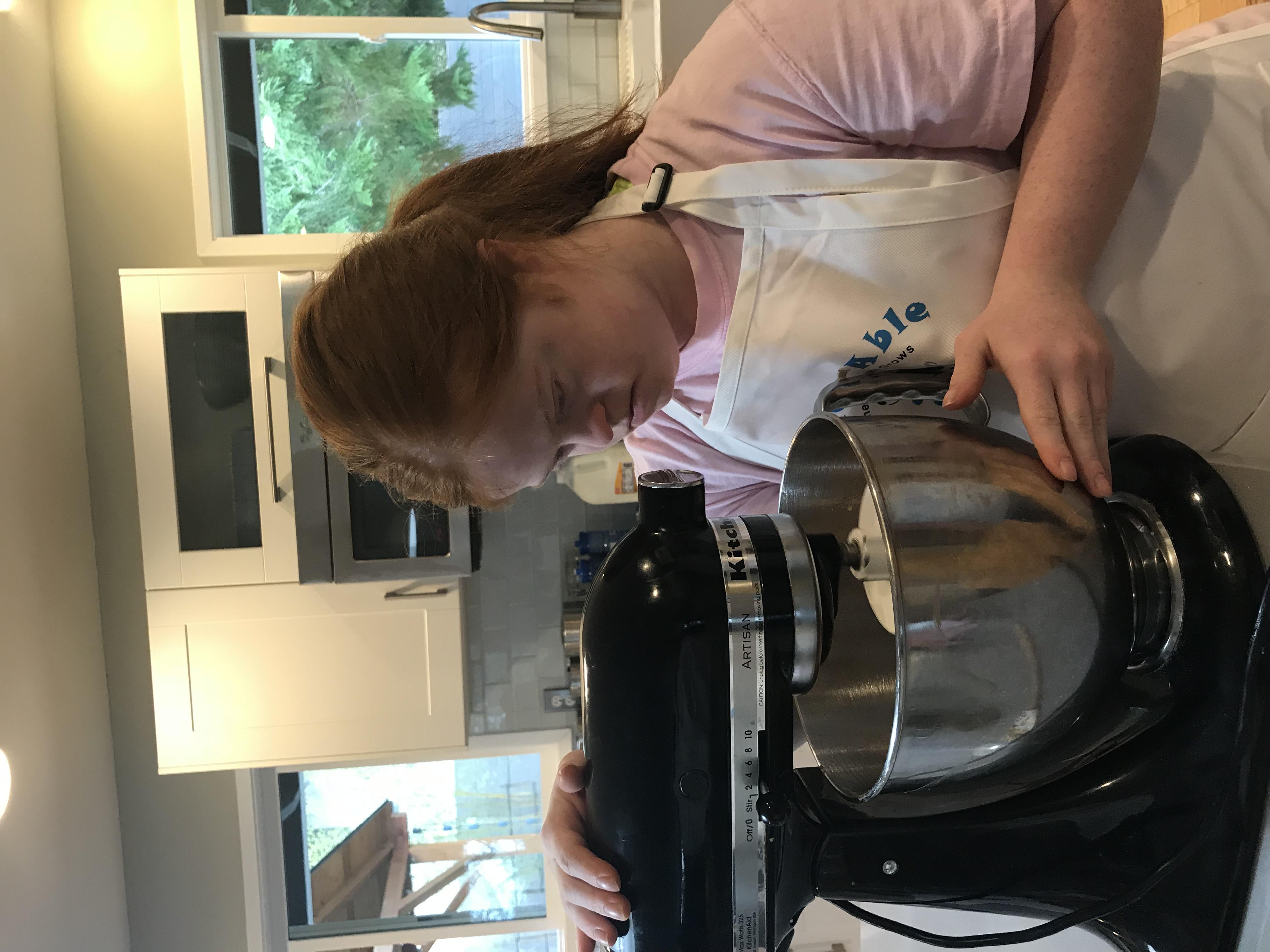 Megan mixing ingredients
