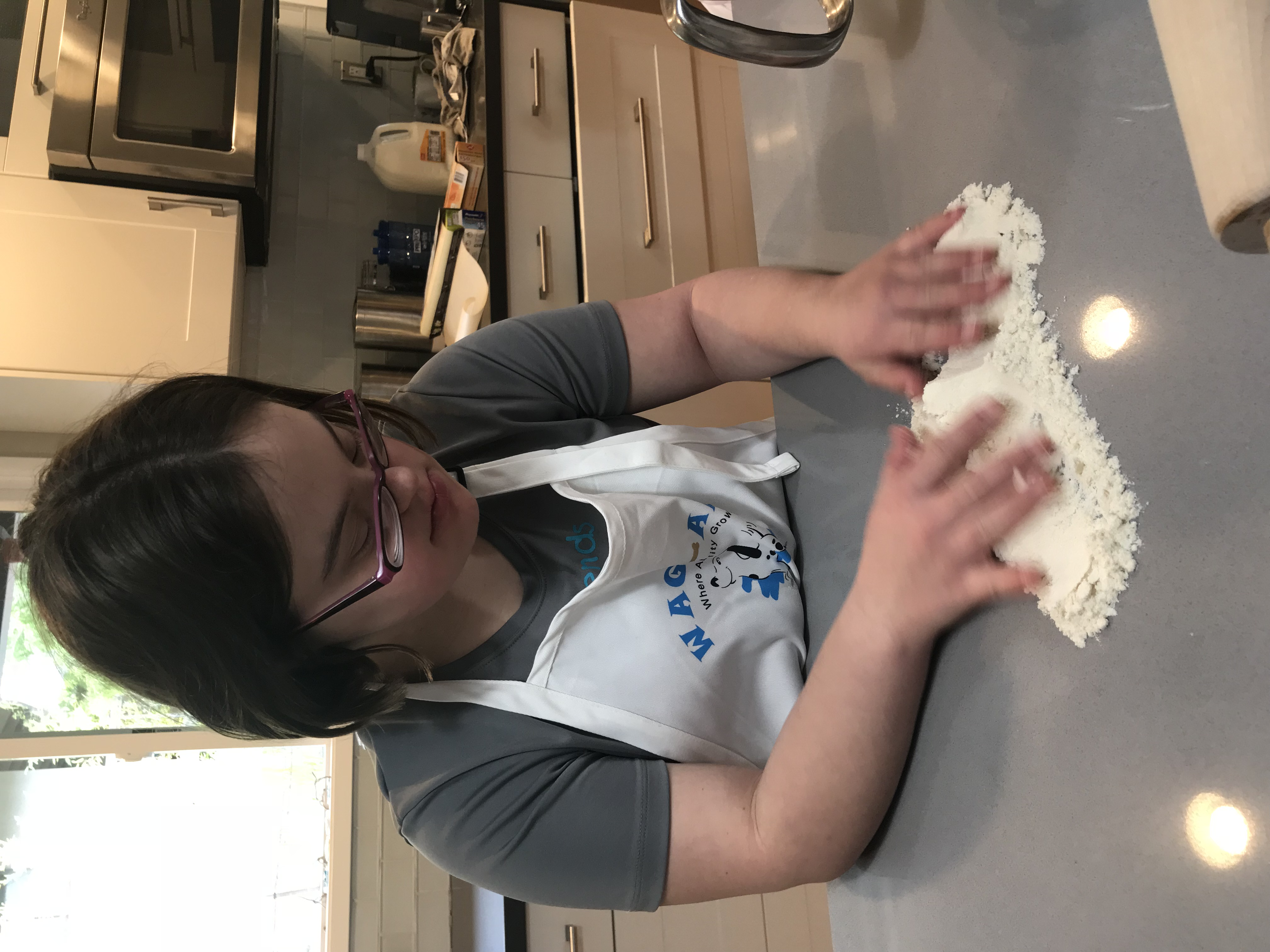 Hannah preparing counter