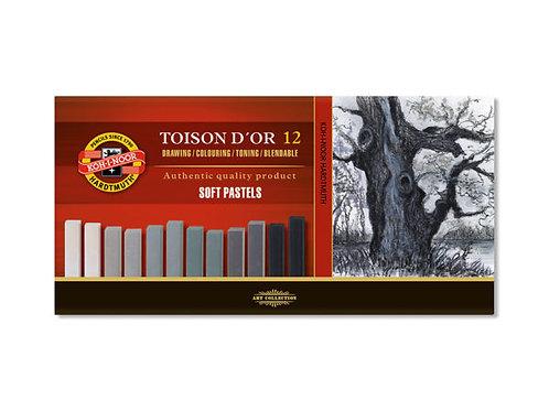 Koh-i-Noor Soft Pastell Firkantet Grå – Sett 12