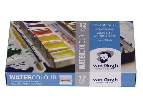 Van Gogh akvarellsett i metallboks ½ Kopp (12 farger & pensel)