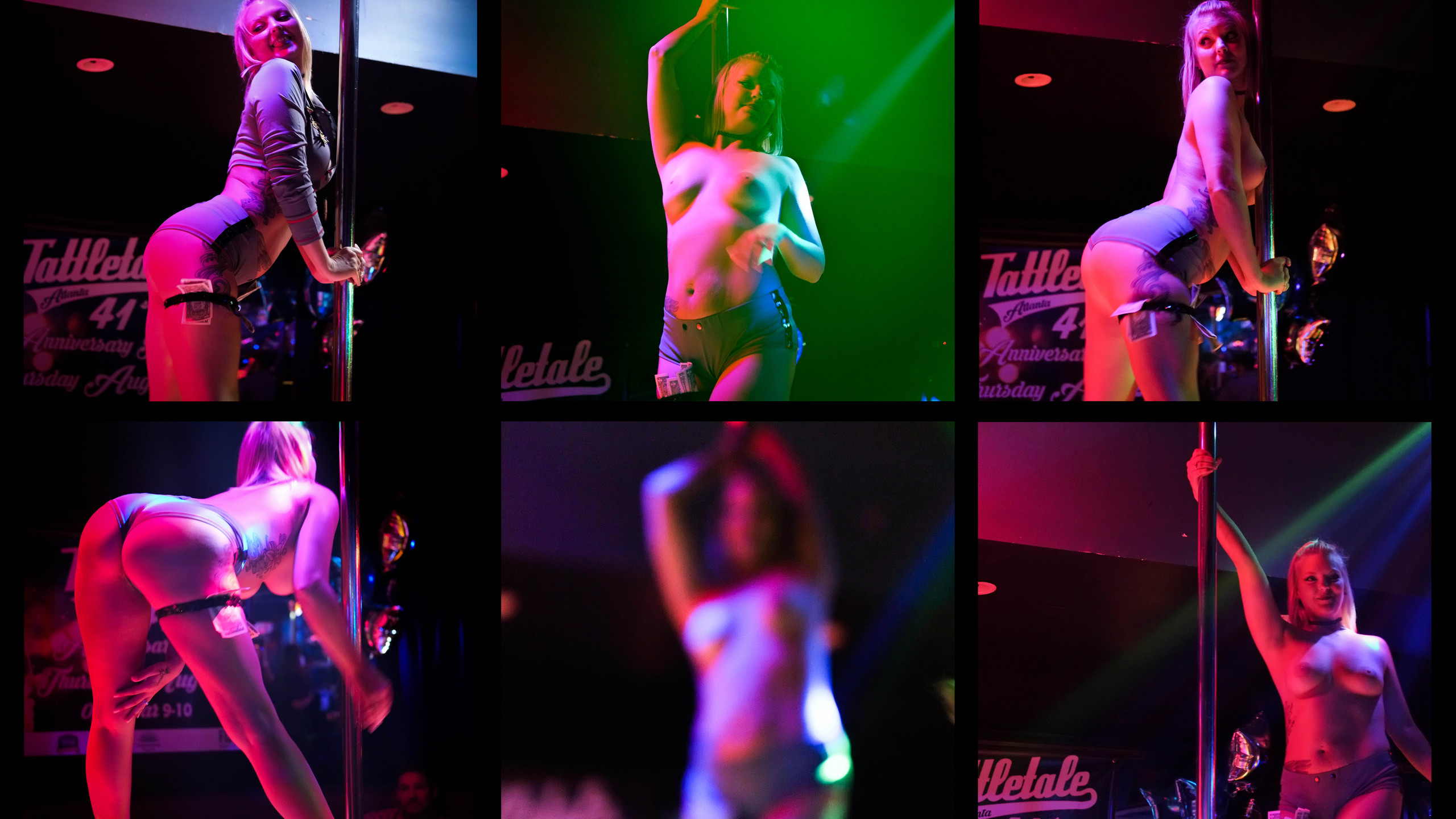 A collection of shots of Summer bathed in a pink glow during her performance.
