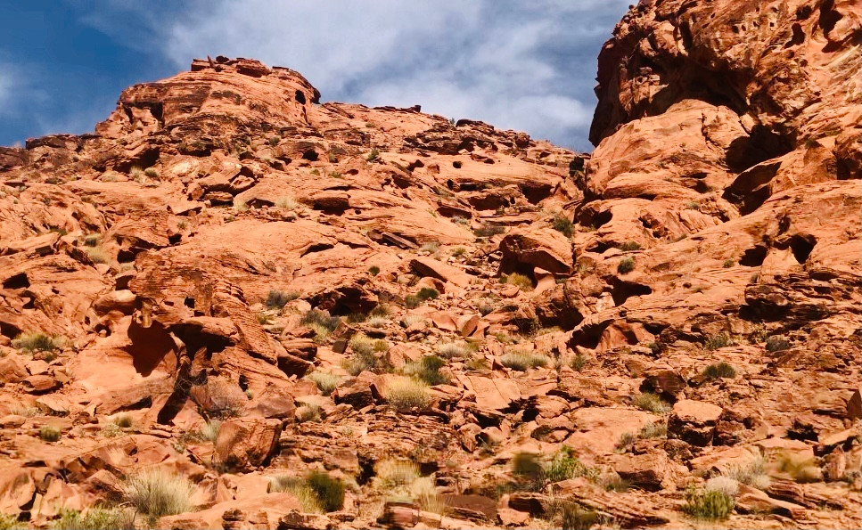 Valley of Fire mountains and blue sky