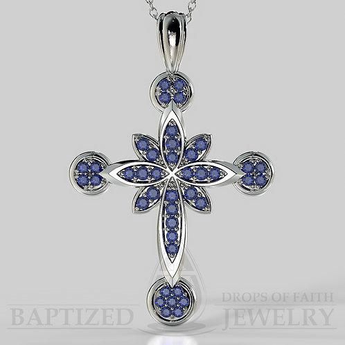 Blue Sapphire Flower Cross Pendant In 14K Gold (0.52 Ctw)