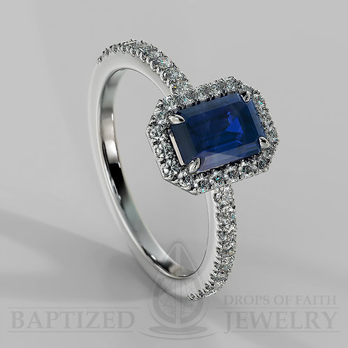 Emerald Cut Blue Sapphire & Diamonds Halo Ring