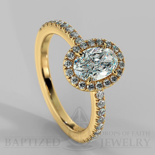 Oval Cut Natural Diamond Halo Ring