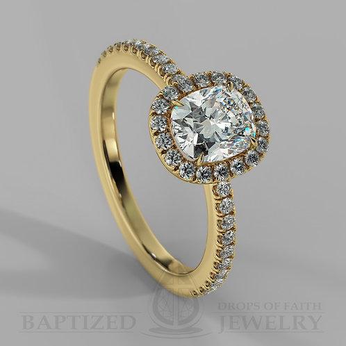 Cushion Cut Natural Diamond Halo Ring