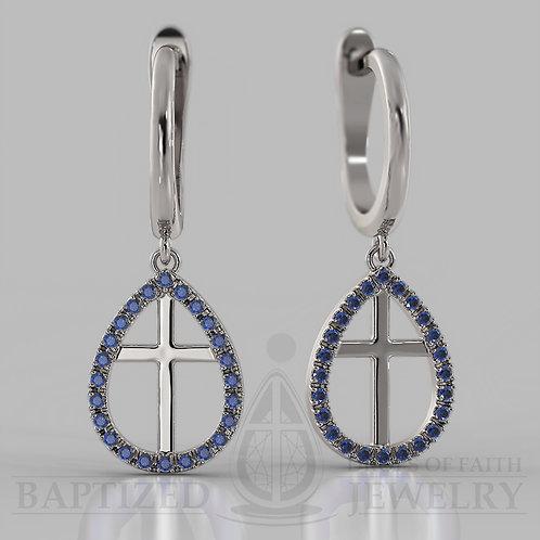 Natural Diamond Enclosed Cross Earrings