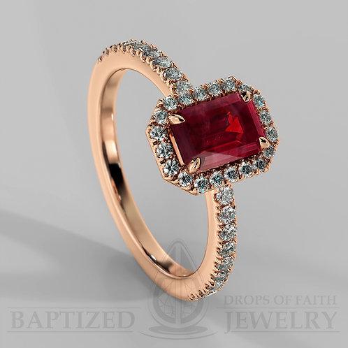 Emerald Cut Ruby & Diamonds Halo Ring