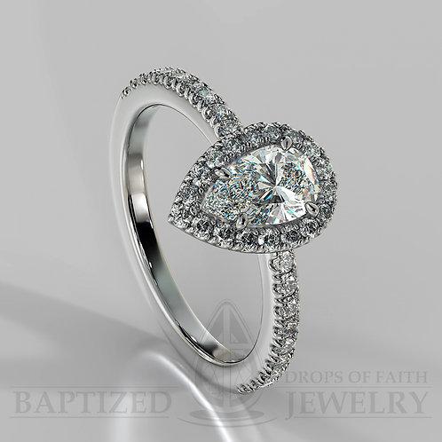 Pear Shape Natural Diamond Halo Ring