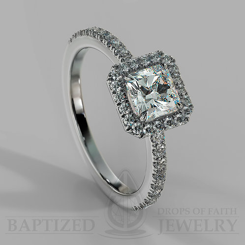 Radiant Cut Natural Diamond Halo Ring