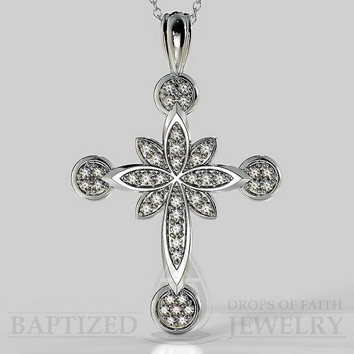 Natural Diamonds Flower Cross Pendant In 14K Gold (0.46 Ctw)