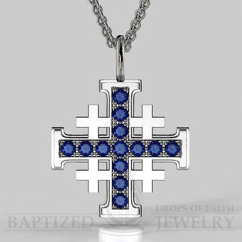 Blue Sapphire Jerusalem Cross Pendant In 14K Gold (0.65 Ctw)